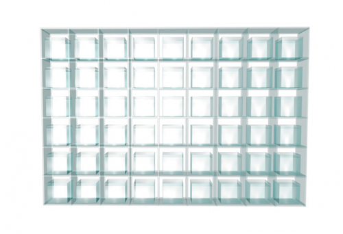 Plexiglasregal mit 54 Feldern