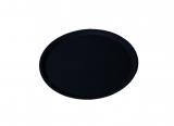 Serviertablett, flacher Rand, rund, schwarz