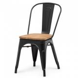 Stuhl GOTHAM, schwarz mit Sitzplatte ULME