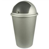 Abfalleimer, silbergrau mit Schwingdeckel, 50 Liter